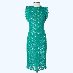 Gorgeous Green ZARA Lace Guipure Fitted Dress